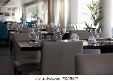 Empty glasses in restaurant.