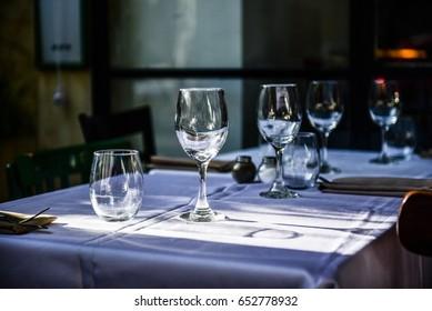 Empty glasses in restaurant table