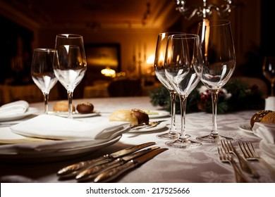 Empty glasses in restaurant. Table setting for celebration