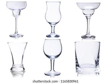 Empty glasses set on white background