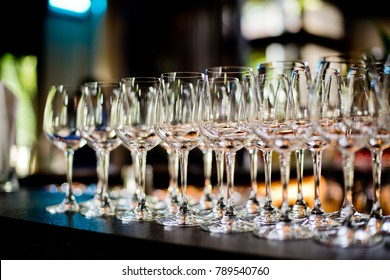 Empty glasses wine in restaurant. Glass water
