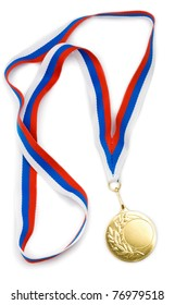 Empty gold medal or award with ribbon isolated template