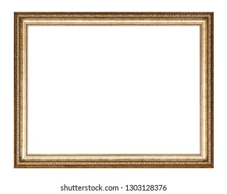 empty golden carved wooden picture frame with cut out canvas isolated on white background