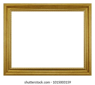 Empty golden picture frame isolated on white.