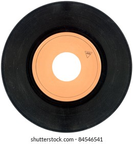 Empty Gramophone vinyl record isolated on white background
