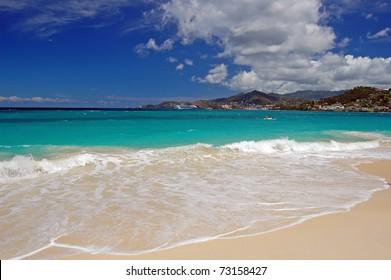 Empty Grand Anse beach on Grenada Island