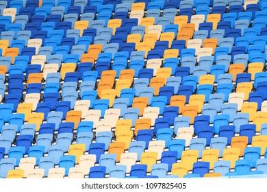 Empty grandstand of the football stadium