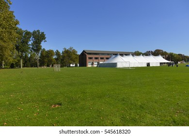 Empty grass for sport field activities in college with blue sky. University campus green forest field.