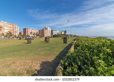 Empty grass verge wooden poled barrier with dune vegetation and sea against distant Durban city blue cloudy skyline coastal landscape in South Africa