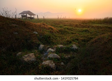 Empty grassland with fog in the morning