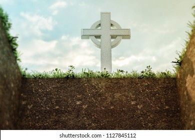 empty grave with celtic tombstone 3d illustration