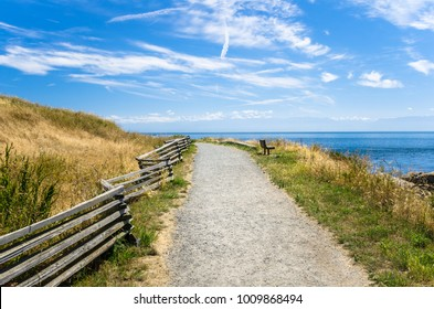Empty Gravel Coast Path with a Bench Facing the Ocean on a Sunny Summer Day. Victoria, BC, Canada.