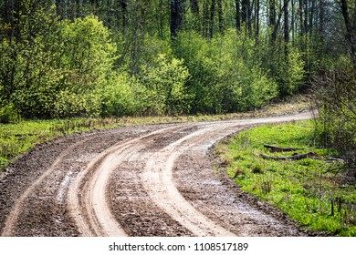 empty gravel road with tracks of mud in the countryside in summer heat perspective in forest