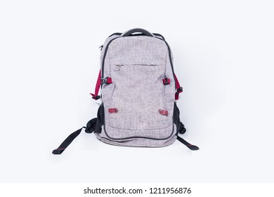 Empty gray backpack isolated on white background.