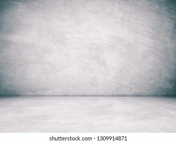 Empty gray cement room in perspective view, grunge background, vintage style, interior design, product display montage