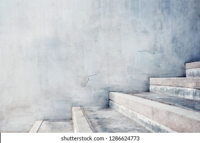 Empty Gray Concrete Stair, Modern Cement Industrial Loft Style. Side View and Selective Focus, Interior or Exterior Design Concept
