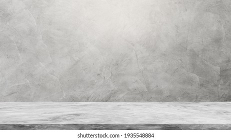 Empty Gray Wall Room interiors Studio Backdrop and Floor cement Shelf, well editing montage display products and text present on free space Background  - Shutterstock ID 1935548884