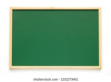 Empty green chalkboard isolated on white background. Green chalkboard background and texture with wood frame. Education and back to school, Menu of Coffee shop or Restaurant concept idea.