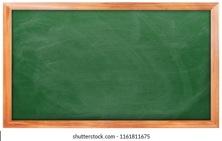 Empty green chalkboard on white background, Blank chalkboard with wooden frame isolated on white background. can add your own text on space.