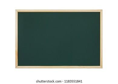 empty green chalkboard on white background