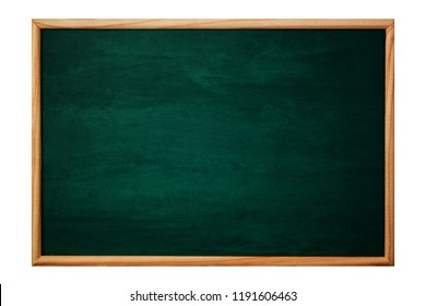 Empty green chalkboard or school board background and texture with wood frame, education and back to school concept idea.