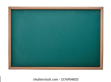 Empty green chalkboard with wooden frame isolated on white background.
