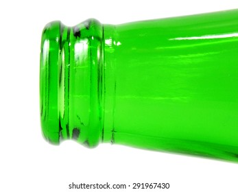empty green glass bottle lying on its side isolated over white background