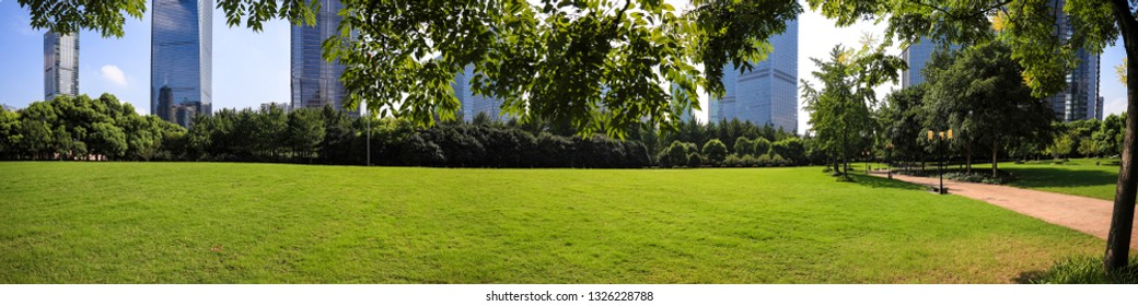 Empty green grass with panoramic modern city buildings backgrounds in Shanghai