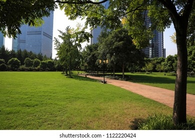 Empty green grass and road with modern city buildings backgrounds in Shanghai