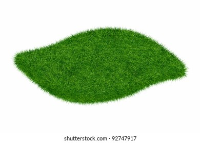 Empty green grass wave blank isolated 3d model