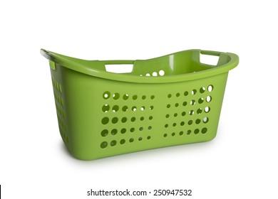 Empty Green Laundry Basket isolate on white background