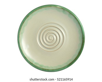 Empty green plate isolated on white background. Top view