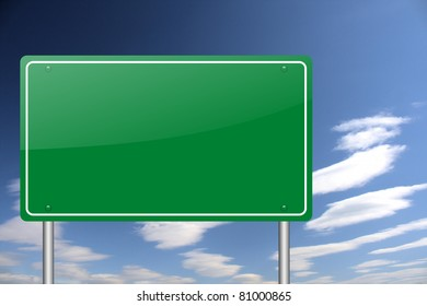 empty green road sign