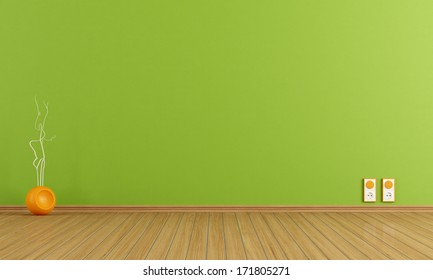 Empty green room with vase and wall outlet - rendering