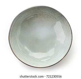 Empty grey bowl isolated on white background, top view