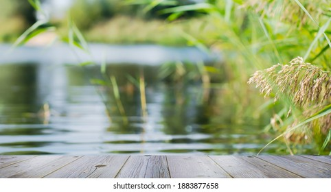 empty grey jetty in foreground of the blurred lakeside background, close-up of an beautiful idyllic waterscape on summer  day with advertising space on wooden planks - Shutterstock ID 1883877658