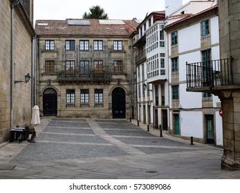 Empty, grey streets of Santiago de Compostela, Spain