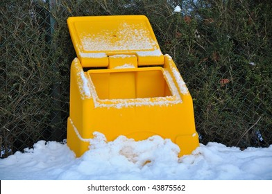 Empty grit bin, as UK runs low on stock salts due to long cold snap