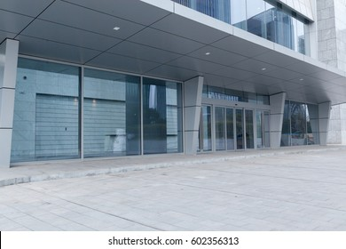 empty ground in front of modern office building exterior