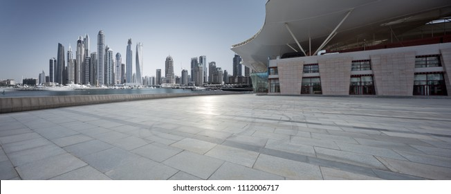 empty ground with modern city skyline