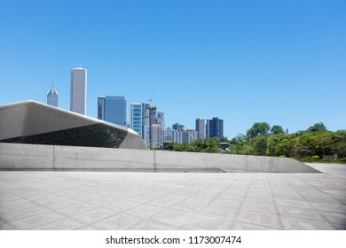 empty ground with modern cityscape in chicago