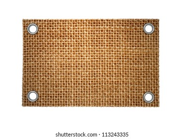 Empty grunge label of burlap with rivets