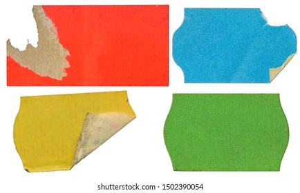 empty grungy adhesive price stickers, multicolred price tag set, with free copy space, isolated on white background