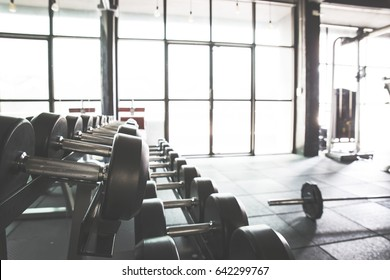 Empty gym with equipment.Bright room in the gym