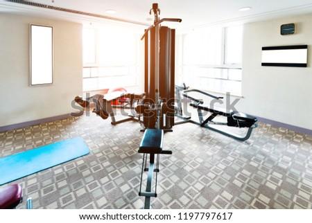 Empty gym room equipment stock photo edit now
