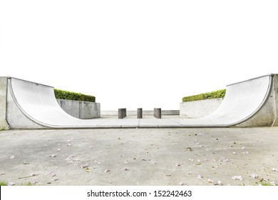An empty halfpipe at public park isolated on white background with clipping path