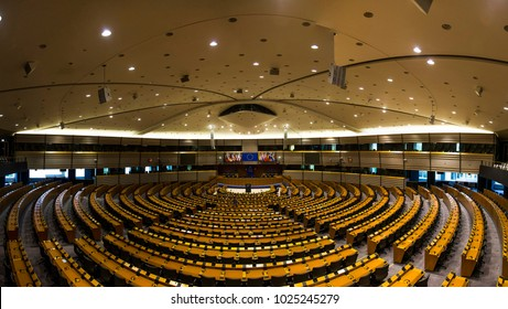 an empty hall in the European Parliament Brussels, Belgium, 06.26.2016. Editorial use only.  a huge empty hall of European lawmakers.