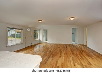 Empty hallway interior with white entrance door and hardwood floor