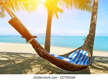 Empty hammock between palms trees