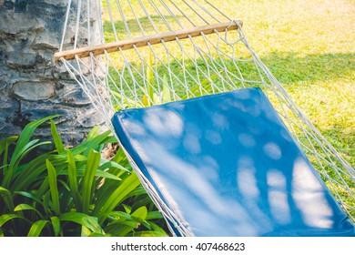 Empty hammock in the garden - Vintage Light Filter